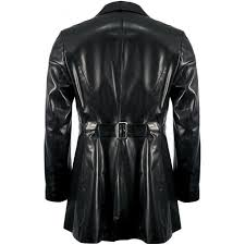 mens luxury black leather waistcoat insert jacket