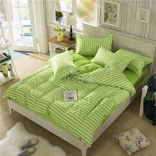 2016 bedding set apple green striped queen full twin size bed quilt cover set linen comfortable duvet covet set 3pcs in bedding sets from home