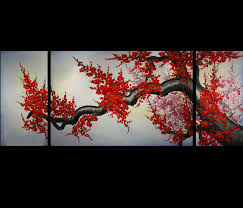 ... Mysterious Look Canvas Oil Painting Three Panel Branch Amazing Pictures  Large Pinterest Elegance Asian Wall Art ...