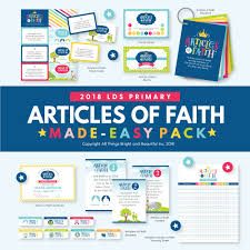 2018 Lds Primary Theme Articles Of Faith Kit