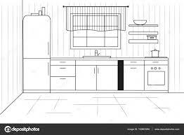 Croquis De La Cuisine Plan De Cuisine Illustration Vectorielle