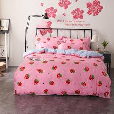 girls princess bedding sets duvet covers set pink strawberry plaid flat bed sheet twin full queen king size bedclothes black and white duvet set duvet and