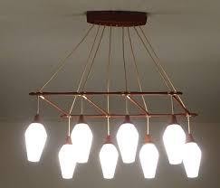 scandinavian modern large midcentury danish modern 8 lights pendant chandelier teak glass copper for