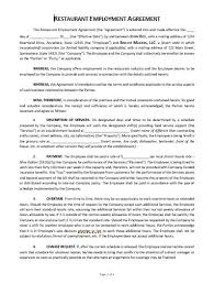 Employee contracts contain details like hours of work, the rate of pay, the employee's. Restaurant Employment Agreement Template Approveme Free Contract Templates