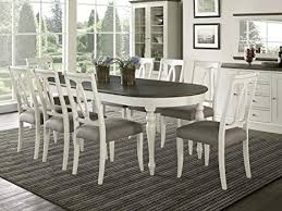 everhome designs vegas 9 piece oval extension dining table set for 8 oval back