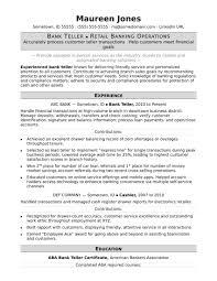 Resume Samples For Experienced In Banking New Bank Teller Resume