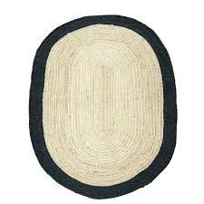 oval jute rug braided with black border outdoor