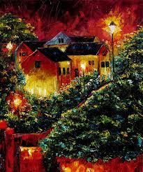 debra hurd impressionist street scene art cityscape painting oil trees on canvas night