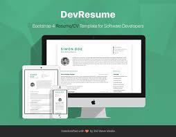 Devresume Free Bootstrap 4 Resumecv Template For Software Developers