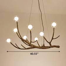 modern height adjule wood branching chandelier 24 36 48w led 8 12