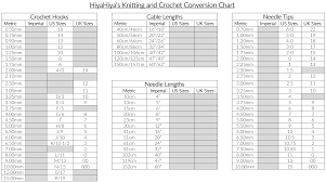 Crochet Needle Size Chart Needle Size Conversion Chart