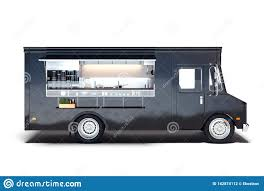 3d Food Truck Design Black Realistic Food Truck Isolated On White 3d Rendering