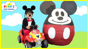 mickey mouse clubhouse giant egg surprise opening disney junior toys kids video world biggest you