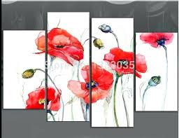 poppy paint hand painted abstract red poppy painting flowers canvas art 4 piece modern oil wall poppy paint
