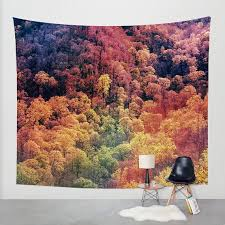 autumn leaves wall tapestry surreal wall art fall colors nature decor