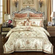 royal bedding sets gold color luxury queen king size satin jacquard duvet cover bed sheets set