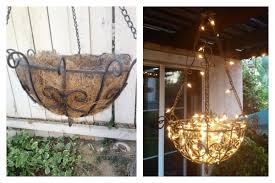 Diy Outdoor Chandelier Made From A Hanging Planter Fishing Line