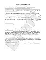 Power Of Attorney For Child Care Sample Power Of Attorney For Child Form Template Power Of