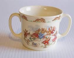 Vintage Royal Doulton Bunnykins Bunnies Sledding Childs Mug Two Handle Cup