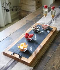 chalkboard and wood serving tray