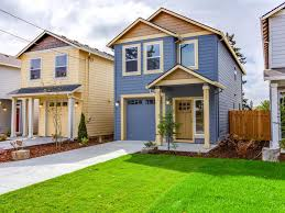 exterior house painting yellow and blue