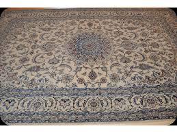 rug 7 x 10 beige background blue handmade persian nain silk wool