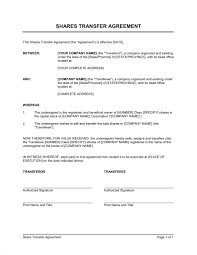 Shares Transfer Agreement Template Word Pdf By Business In A Box