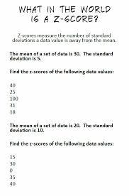 Z Score Chart Printable Math Love Introducing Z Scores