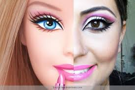 perfecting the makeup like barbie doll