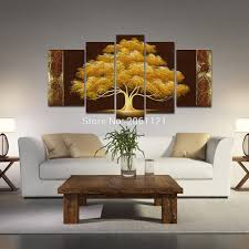 Paintings For Living Room Decor Aliexpresscom Buy Hand Painted Autumn Tree Oil Painting Yellow