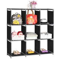 Storage 6/9 Grids Organizer Closet Black Closet Stacker Clothes Modular  Cubes