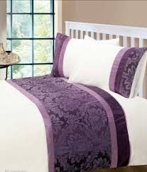 aubergine colour modern stylish damask bedding quality duvet quilt cover set
