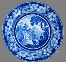 english antique factory unknown pearlware blue white print plate of the cowman