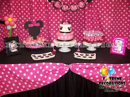 minnie cake table decoration birthday party pink with white polka dots