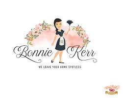 Cleaning Business Logos Cleaning Lady Logo Maid Cartoon Character Mascot Logo Design Pink Floral Cleaning Service Logo Design Branding Custom House Cleaning Logo