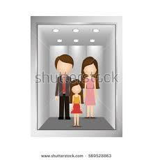 people inside elevator. picture open building elevator with people inside y