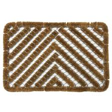 Rubber-Cal Herringbone Tan 18 in. x 30 in. Coir Boot Scraper Mat ...