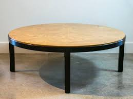 four foot round milo baughman burl wood and ebony coffee table