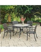 dining tables and chairs for sale in laguna. laguna marble top 5 pc round outdoor dining table and 4 chairs - black home tables for sale in