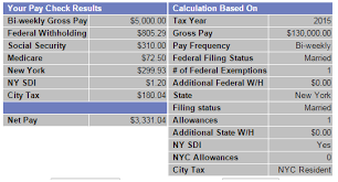 paycheck taxes calculator 2015 if you make 130 000 year in nyc what is your take home bi weekly