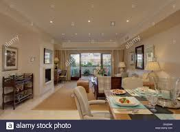 Open Plan Living Room Table Set For Lunch In Dining Area Of Open Plan Living Room In