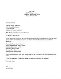 Divorce Source Marriage Certificate License Request Letter