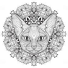 大人のための塗り絵円形パターンを持つ神秘的な猫の頭部猫の春