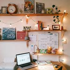 a cozy desk with lights