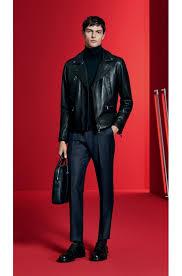 hugo boss black slim fit leather biker jacket style necko 50378610