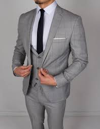 Light Grey And Burgundy Suit Light Grey Navy Check 3 Piece Suit
