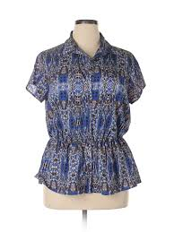 Cato Plus Size Chart Details About Cato Women Blue Short Sleeve Blouse 18 Plus