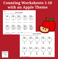 Worksheets 1-10 with an Apple Theme