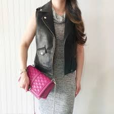 the double take girls blogger jacket dress bag sweater leather jacket grey dress pink bag chanel