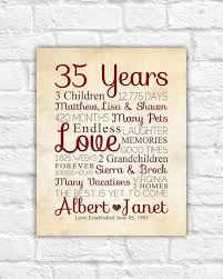 35th anniversary any year anniversary gifts personalized art for anniversary husband wife gift for pas pas anniversary date